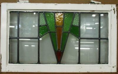 """OLD ENGLISH LEADED STAINED GLASS WINDOW Lovely Geometric Burst 25.75"""" x 15.5"""""""