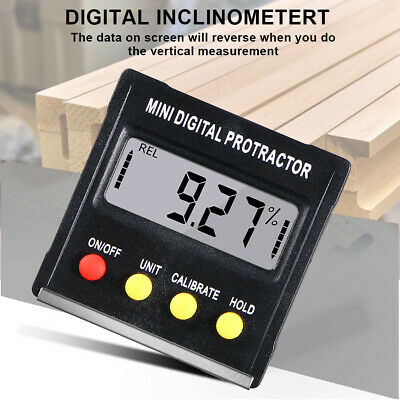 90°Digital LCD Inclinometer Level Box Protractor Angle Finder Bevel Gauge Magnet