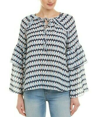 $278 NWT PARKER SzM TIERED LONG SLEEVE CREW NECK BLOUSE TOP TRIXIE PRINT