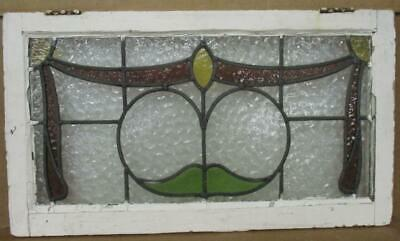 "OLD ENGLISH LEADED STAINED GLASS WINDOW TRANSOM Pretty Ribbon Design 30"" x 17"""
