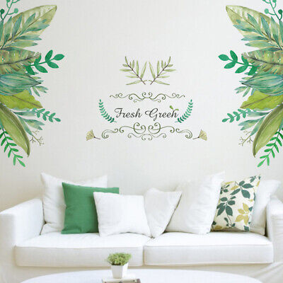 AWAKINK Cartoon Cactus Pot Green Plants Leaves Butterflies Pastoral Style Wall Stickers Wall Decal Vinyl Removable Art Wall Decals for Bedroom Living Room Nursery Room Childrens Bedroom