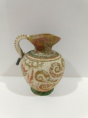 Greek 1500BC Minoan Reproduction Octopus Urn Pitcher Vase Metal Tag