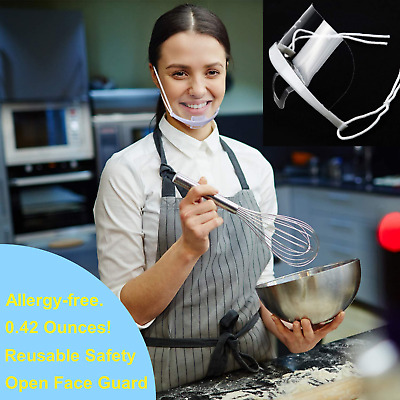Food Handlers Anti-Fog Transparent Face Shield Mouth Shield Reusable