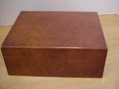 "Burled Wood Cigar Humidor Box 7.75"" x 6"" x 3"" Great Condition Free Ship"