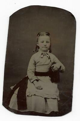 Tintype Photo #T34 Young Girl W/ Tinted Cheeks Posing In Dress Wearing A Ring
