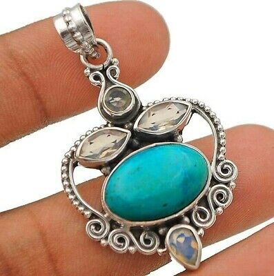 925 SOLID STERLING SILVER HANDMADE JEWELRY PENDANT IN AAA TIBETAN TURQUOISE