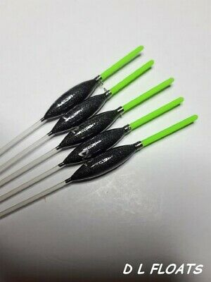 5x `DL` HAND MADE POLE FLOATS`  ` MARGIN SLIMS`  0.4g  2mm Yellow Tips
