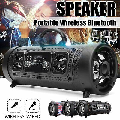 Bluetooth Boombox Speaker Wireless Stereo Bass Subwoofer FM AUX TF MIC MP3 LED