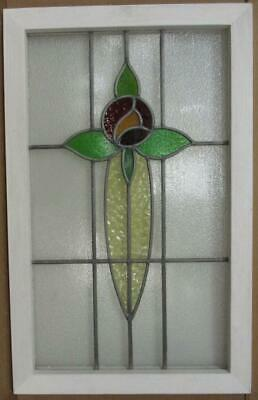 """MIDSIZE OLD ENGLISH LEADED STAINED GLASS WINDOW Pretty Rose 20.25"""" x 32.25"""""""