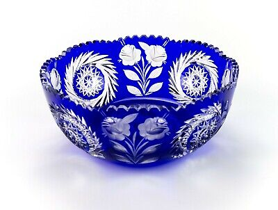 Lausitzer Cobalt Blue Cut to Clear Rose & Wreathed Star Large Bowl, Vintage 9""