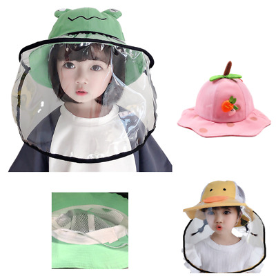 Toddler Kids Fisherman Sun Hat Face Shield - with Removable Face Shield