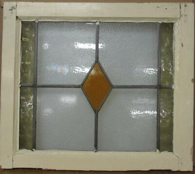 """OLD ENGLISH LEADED STAINED GLASS WINDOW Simple Diamond Design 22.75"""" x 19.25"""""""