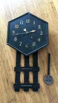 Very Unusual Arts & Crafts Oak Wall Clock