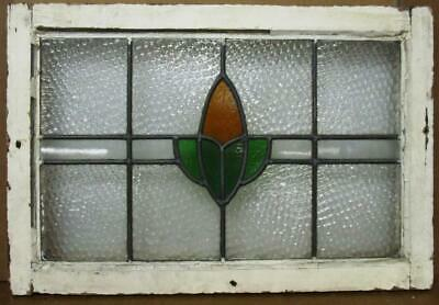 """MIDSIZE OLD ENGLISH LEADED STAINED GLASS WINDOW Abstract Floral Design 25"""" x 17"""""""