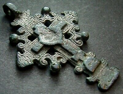 ANCIENT BRONZE CROSS RARE. RELIGIOUS ARTIFACT 17 - 18 CENTURY. 43 mm. (S.056)