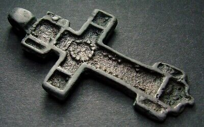 ANCIENT BIG BRONZE CROSS RARE. RELIGIOUS ARTIFACT 16 - 17 CENTURY 47 mm. (R.063)