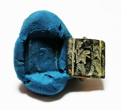 ZURQIEH -as17909- ANCIENT HOLY LAND. ACHAEMENID BRONZE SEAL. 500-400 B.C