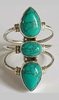 STUNNING STERLING SILVER AND TURQUOISE RING SIZE K