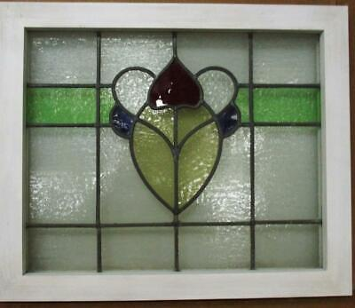 """MIDSIZE OLD ENGLISH LEADED STAINED GLASS WINDOW Pretty Floral 24.25"""" x 20.25"""""""