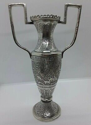 Antique Persian Qajar Solid Silver Floral Handle Vase With Birds & Animals