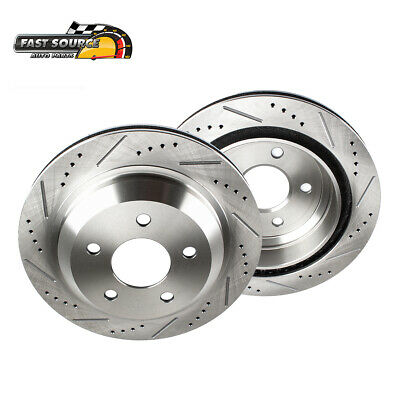 Rear Drilled And Slotted Brake Rotors For 2005 - 2014 Ford Mustang S197