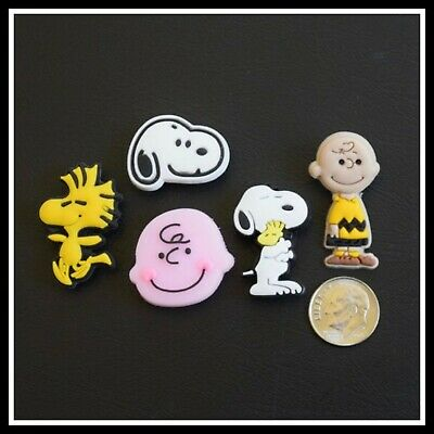 SET of 5 Shoe Charms for Crocs PEANUTS COMIC SNOOPY CHARLIE BROWN WOODSTOCK