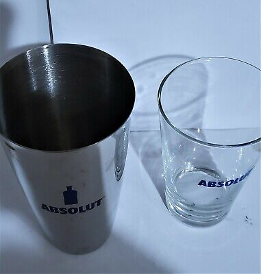 2 Piece ABSOLUTE SHAKER SET Glass & Stainless Bar Cocktail Mixing Kit