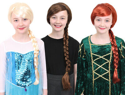 Girls Plait Wig Brown Red Blonde Fairytale Character Fancy Dress Costume Hair