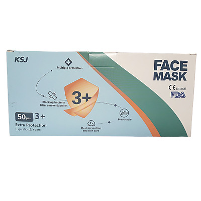 KSJ Disposable 3+ Layer Ear Loop Medical Surgical Dental Face Mask - Box of 50
