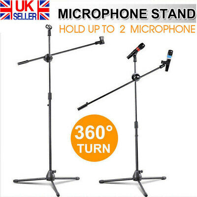Professional Boom Microphone Mic Stand Holder Adjustable + 2 Free Clips New