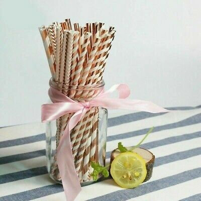 25 PAPER DRINKING STRAWS Let/'s Party METALLIC COPPER ROSE GOLD Blush Peach Matte