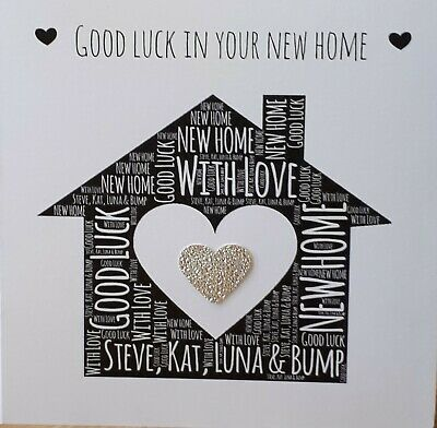 GL1 Good Luck In Your New Home Wooden Heart Shaped  Gift