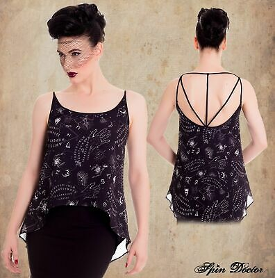 Hell bunny Spin Doctor Aura  Teal Skull crop  gothic steampunk top XS XL