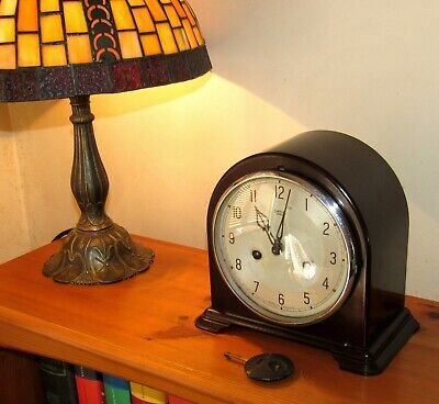 Nice Smiths Enfield Striking Mantle Clock In Bakelite Case