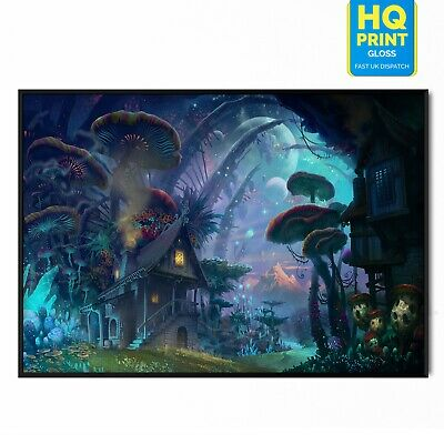 Fantasy Psychedelic World Colourful Wall Art Large Poster Canvas Pictures