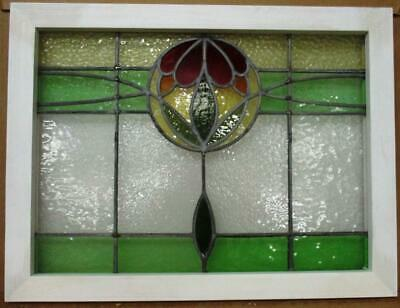 """MIDSIZE OLD ENGLISH LEADED STAINED GLASS WINDOW Floral Drop Design 27"""" x 20.5"""""""