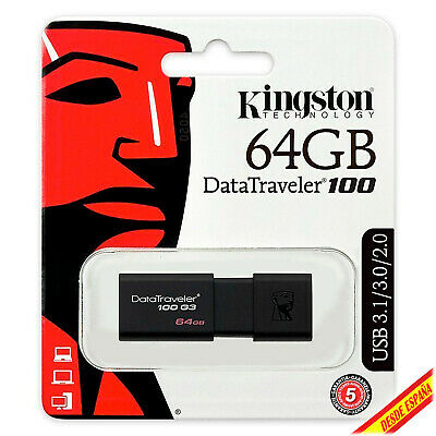 Clé USB Mémoire USB 2.0 3.0 3.1 Kingston DT100 G3 64GB Unité Flash Drive Clé