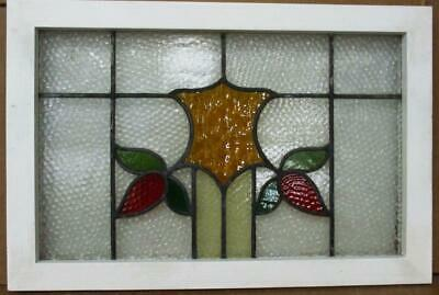 """OLD ENGLISH LEADED STAINED GLASS WINDOW Floral Shield Design 27.25"""" x 18.25"""""""