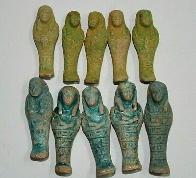 10 RARE ANCIENT EGYPTIAN ANTIQUE Shabti Ushabti Statues Lime-Stone 1459-1245 BC