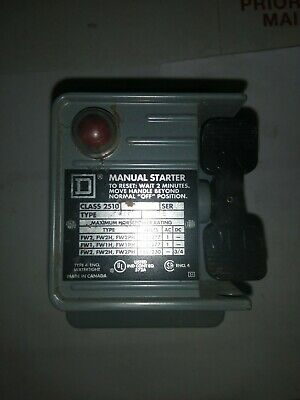 2 Pole With Pilot Light. Square D 2510 FW-2P  FHP Manual Starter Water Tight