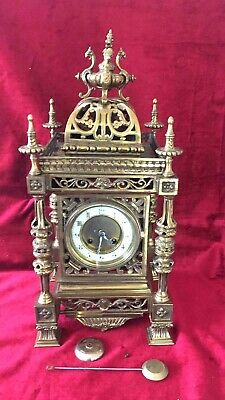 A Large & Impressive French Brass Mantle Clock
