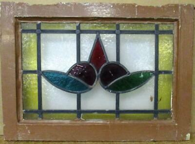"""OLD ENGLISH LEADED STAINED GLASS WINDOW Lovely Floral Design 20.25"""" 14.75"""""""
