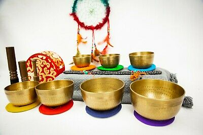 7 chakras set  Handhammer Tibetan singing bowl for sound heal, yoga, meditation