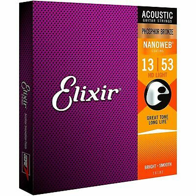 Elixir Strings Nanoweb Phosphor Bronze Acoustic Guitar Strings -.013-.053 HD