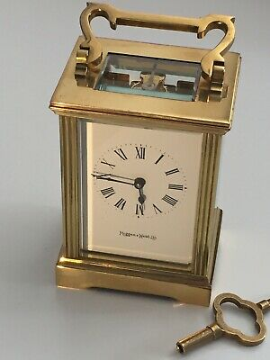 """Antique """"MAPPIN & WEBB"""" Solid Brass Mech Move Carriage Clock In Working Order"""