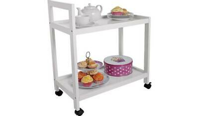 White Home Office Tea Trolley , 2 Shelves Kitchen Storage Trolley , Room Troll