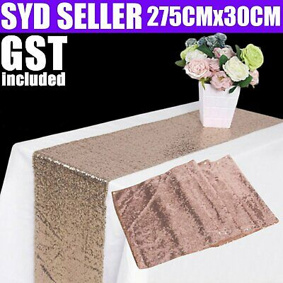 275cm Sequin Table Runner Gold Silver Champagne Wedding Sparkly Bling Party BM