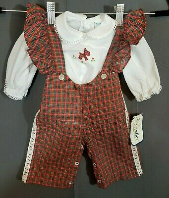 VTG~ Quilted Bibs with Matching Shirt ~Baby Girls~ Sz 3-6 months~NANNETTE~NWT