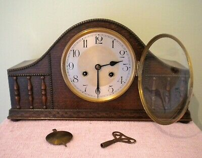 Large Ornate and Decorative Vintage Striking Mantel Clock with Key and Pendulum