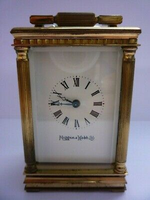 Antique Brass Miniature Carriage Clock By Mappin & Webb